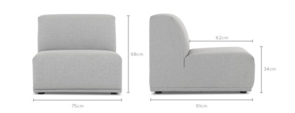 dimension of Todd Armless Sofa