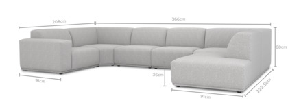 dimension of Todd U-Shape Sectional Sofa with Chaise