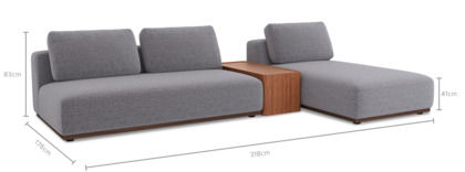 dimension of Warren Sectional Sofa with Storage Table