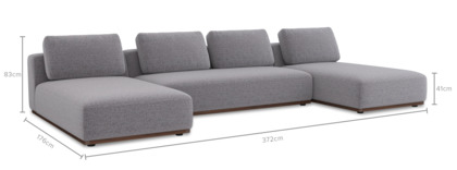 dimension of Warren C-Shape Sectional Sofa