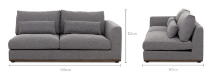 dimension of Alfie Right Facing 2 Seater Sofa