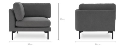 dimension of Pebble Corner Sofa