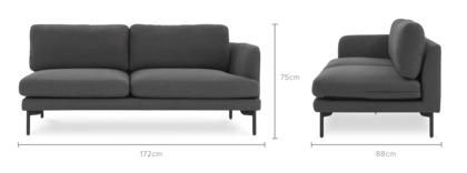 dimension of Pebble Right Facing 2 Seater Sofa
