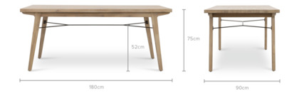 dimension of Miles Dining Table