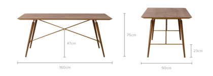 dimension of Lily Dining Table