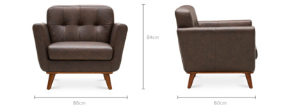 dimension of Hanford Armchair Leather