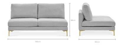 dimension of Adams Armless 2 Seater Sofa