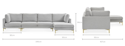 dimension of Adams Extended Chaise Sectional Sofa