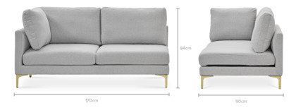 dimension of Adams Left Facing 2 Seater Sofa