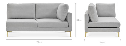 dimension of Adams Right Facing 2 Seater Sofa