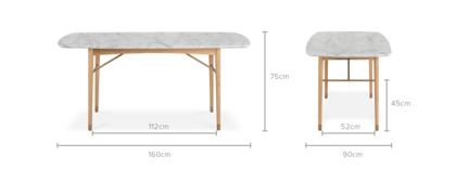dimension of Chelsea Marble Dining Table