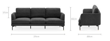 dimension of Pebble Extended Sofa