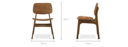 dimension of Joshua Chair, Dark Walnut