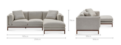 dimension of Owen Chaise Sectional Sofa, Walnut