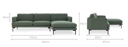 dimension of Pebble Chaise Sectional Sofa, Black Leg