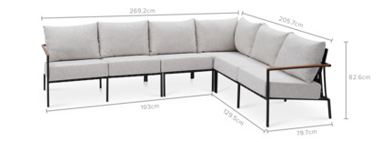 dimension of Sorrento Extended L-Shape Sectional Sofa