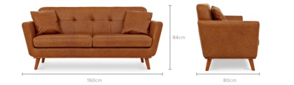 dimension of Hanford 2 Seater Sofa Leather