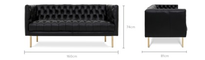 dimension of Penny 2 Seater Sofa Leather