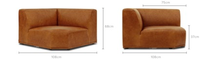 dimension of Todd Corner Sofa Leather, Camel