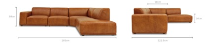 dimension of Todd Extended Sectional Chaise Sofa Leather