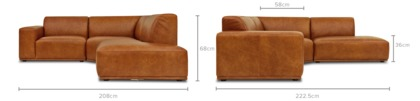 dimension of Todd Sectional Chaise Sofa Leather