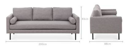 dimension of Nash 3 Seater Sofa