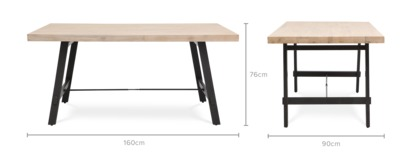 dimension of Benton Dining Table
