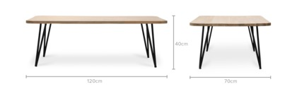 dimension of Reed Coffee Table
