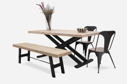 dining table with 2 chairs. hendrix dining table with benton bench and 2 franco chairs 0