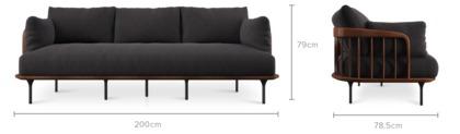 dimension of Wayne Sofa with Ottoman