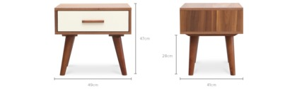 dimension of Underwood Side Table, 1 Pair