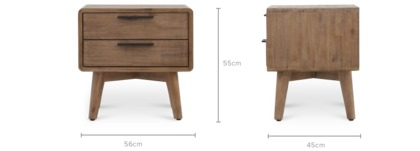 dimension of Seb Bedside Table, 1 Pair